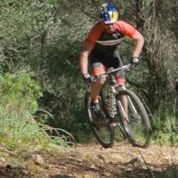 Climbing on a mountain bike