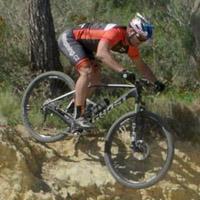 Descending on a mountain bike